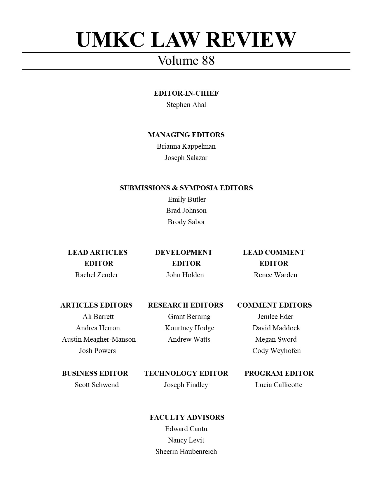 Volume 88 Editorial Board